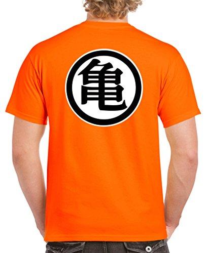 Comedy Shirts T-Shirt à Manches Courtes Son Goku pour Hommes - T-Shirt pour Hommes Dragon Ball Z - T-Shirt en Coton avec Logo Personnalisable - Orange - X-Large