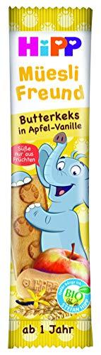 HiPP Bio-Riegel Müesli-Freund Elefant Butterkeks in Apfel-Vanille, 24er Pack (24 x 20 g) DA31367-02