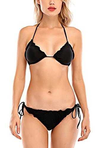 Tuopuda Costumi da Mare Donna Costume da Bagno Due Pezzi Classico Regolabile Reggiseno Spiaggia Vita Alta String Thong Triangolo Brasiliana Bikini Push Up Imbottito, B-Nero, S