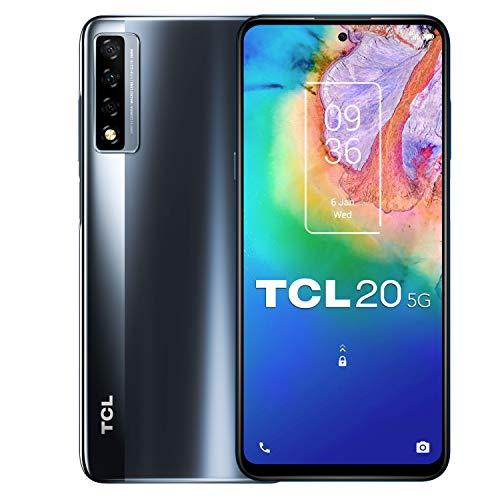 "TCL 20 5G - Smartphone de 6.47"" FHD+ con NXTVISION (Qualcomm 690 5G, 6GB/128GB Ampliable MicroSD, Dual SIM, Cámaras 48MP+8MP+2MP, Batería 4500mAh, Android 10 actualizable) Gris [Exclusivo Amazon]"