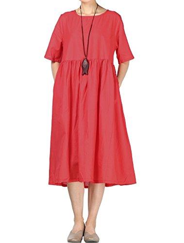 Mallimoda Donna Estate Vestito Scollo Rotondo Manica Corta Lungo Abito Rosso XXL