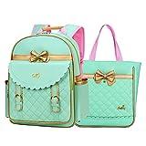 Gazigo Children Princess Waterproof PU Backpack for Elementary School Girls (Large:16.1 x 11.8 x 5.9 inch, Green Backpack + Handbag)