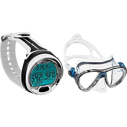 Cressi KS770150 Leonardo Dive Computer , Weiß/Schwarz & Tauchmasken Big Eyes Evolution HD Mirrored Lens, Klar/Blau Schwarz, Eine Größe