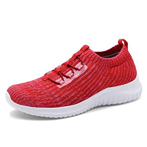 konhill Zapatillas de senderismo cómodas para mujer - Tenis atlético casual sin cordones, (2122 Rojo), 38 EU