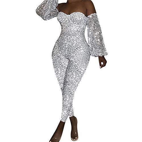 SeqSh Damen Schulterfreier Jumpsuit Glitter Sparkly Backless Langarm Low Cut Bodycon Strampler Cocktail Clubwear,Silber,S