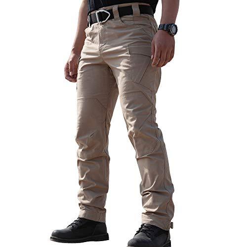 TIANNBU Herren Baumwolle Taktische Hose Leichte Cargohose mit Stretch Outdoorhose,Khaki XL