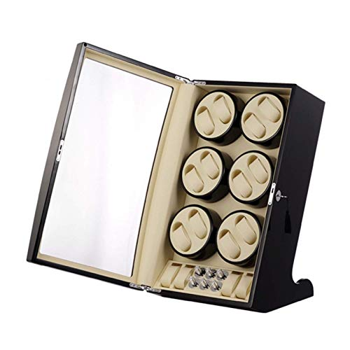 WXDP Enrollador de Reloj automático,12 + 4 Posiciones de Almacenamiento Caja de bobinado Almohadas de Cuero Motor silencioso 5 Modos de rotación Pintura de