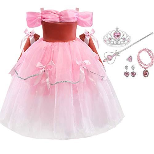 Fanessy Disfraz de la Bella y la Bestia Vestido de Lazo Amarillo Rosado para niña Disfraz de Cosplay de Fiesta de cumpleaños de Halloween con Collar de Varita mágica para niños