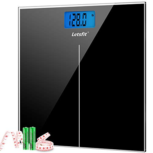 Letsfit Digital Body Weight Scale, Bathroom Scale with Large Backlit Display, Step-On Technology, High accuracy 0.1lb, 400 Pounds Max, 6mm Ultra Slim Design, Included Body Tape Measure