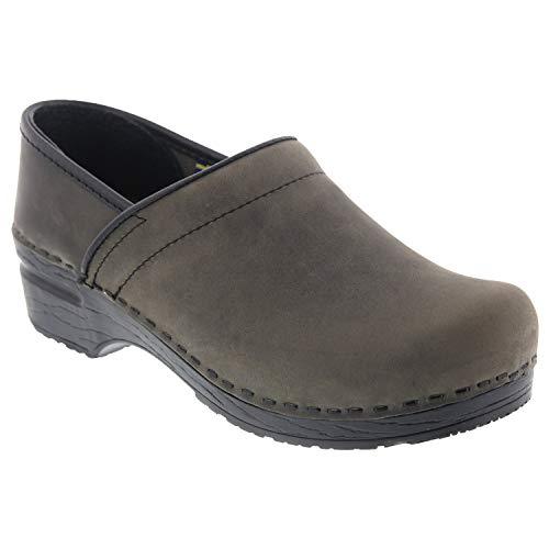 Bjork Professional Leah Grey Oiled Leather Clogs - 37 EU