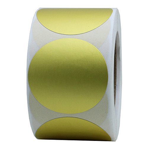 Hybsk 1.5 Inch Gold Foil Labels Blank Target Pasters 500 Adhesive Target Stickers Per Roll (Gold Foil)