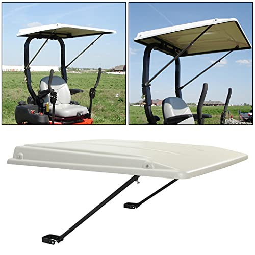 ECOTRIC New Tractor Hard Top Canopy with Bracket Sun Shade 35' W x 40' L Compatible with John Deere Compact Utility Tractors with rops 34' Wide or Less. Fit 1 1/2' x 3', 2' x 2' or 2' x 3' ROPS