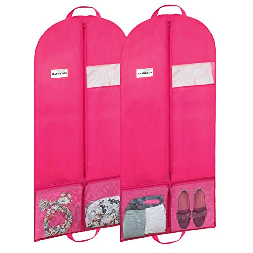 MASKEYON 60' Garment Bags with Large Zipper Pocket for Dance Costume,Wedding Gown,Suit,Furs,Garment Bags for Travel and Storage(Set of 2,Pink)
