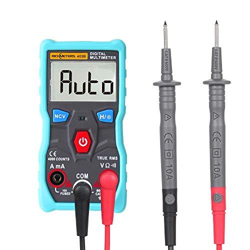Roeam Multímetro Bolsillo Digital, RICHMETERS AC/DC Tester LCD RMS/NCV Inductancia/Megger/Amprobe Luz de Fondo Profesional, Mini Electricistas con Sonda, Cables