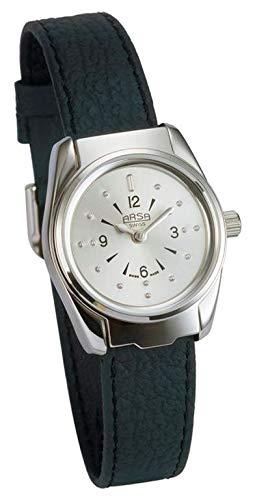 Arsa Braille Uhr Damen Silber - Braille Uhr für Blinde und Sehbehinderte - Mit Glasklappe zum Schutz - 34 mm Zifferblatt - Mit schwarzem Lederarmband