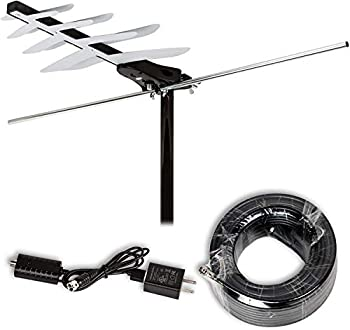 LAVA [Newest 2021] HD-250 Amplified Digital TV Antenna - Support 4K 1080P HDTV Powerful Amplifier Signal Booster & 45ft Coax Cable