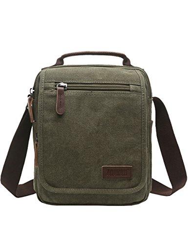 Vertical Canvas Messenger Bag, Mygreen Unisex Casual leather Shoulder Bag Satchel Crossbody Bag for Outdoor Activities, Travel