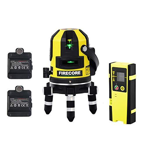 Firecore FIR411G Professional Linienlaser (2 x 1750 mAh Akku, Nivelliergenauigkeit ± 0,2 mm/m, Zubehör Set)