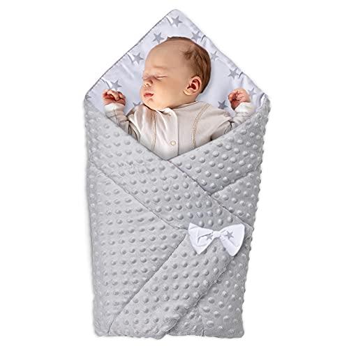 Babyhörnchen Decke - Babydecke Einschlagdecke Babyhörnchen Babynest Wickeldecke Umschlagdecke 80 x 80 cm (GRAU)