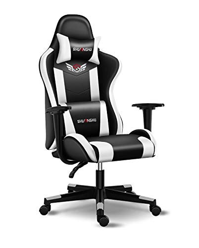 Shuanghu Gaming Chair Office Chair Ergonomic PC Computer Chair with Reclining Racing Chair with Headrest and Lumbar Support Gaming Chair for Adults Teens Desk Chair (White)