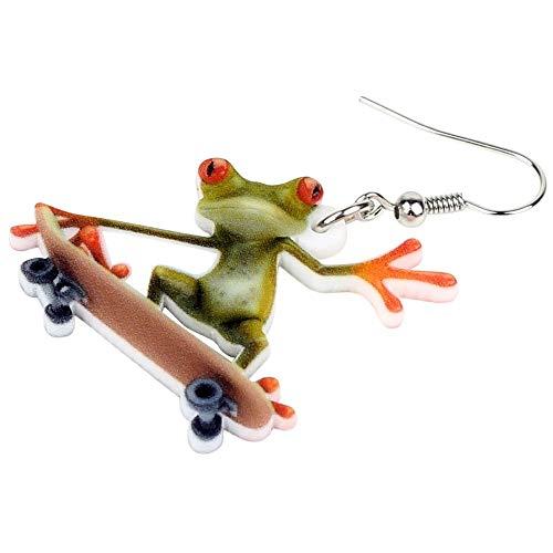 XUBB Acryl Elegante Skateboard Frosch Ohrringe Drop Big Long Fashion Sportschmuck für Frauen Mädchen Teenager
