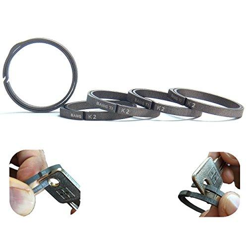 BANG TI Titanium Nail-Saving Flexible Keyrings (K2, 32mm/1.26', 5-pack)