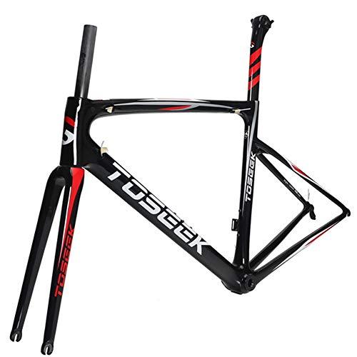 LJHBC Cuadros de Bicicleta Accesorios para Bicicletas Fibra de Carbono T1000 PF30 predeterminado Bicicleta de Carretera Ligera Varios tamaños (Color : Black, Size : 49cm)