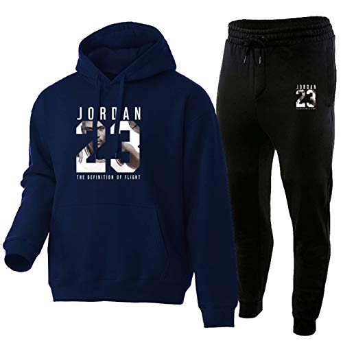 Jordanien - Chándal para hombre, moda con capucha, ropa deportiva 23#, 2 unidades, juegos de sudadera con capucha, pantalones deportivos, suéter con capucha, suéter Tik TOK Denim Blue-S