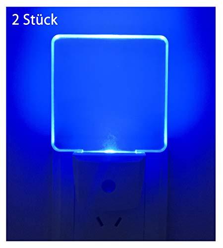 Greenic 2 Pezzi LED Luce Notturna da Presa con Sensore Crepuscolare Automatico Luce Notte Bambini 0.5 W Risparmio Energetico per Camera da Letto,Blu
