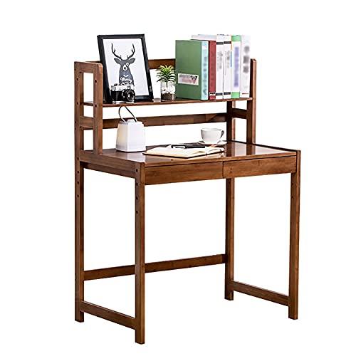 Escritorios Escritorio para computadora, mesa de bambú para oficina en casa de 33,1 '/ 40,9', estación de trabajo de estudio / escritura moderna con estanterías y cajones, se adapta a la oficina en ca