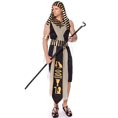 COSOER Alten ägyptischen Monarchen König Cosplay Kostüm Pharao Amon-La Gott Sohn Mama Halloween Party Kleidung Für Erwachsene Männer,L