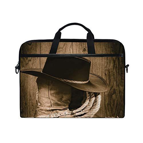 VICAFUCI Nuevo Bolso para portátil de 15-15.4 Pulgadas,Sombrero de Vaquero con temática del Salvaje Oeste y Vieja Cuerda de Rancho en exhibición de Madera Estilo de Rodeo