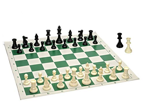 Best Value Tournament Chess Set - 90% Plastic Filled Chess Pieces and Green Roll-up Vinyl Chess Board (Renewed)