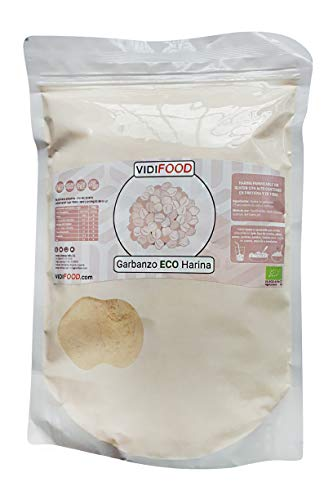 VidiFood Harina de Garbanzos ECO Garbanzos Orgánicos Molidos para cocinar y hornear - 1kg