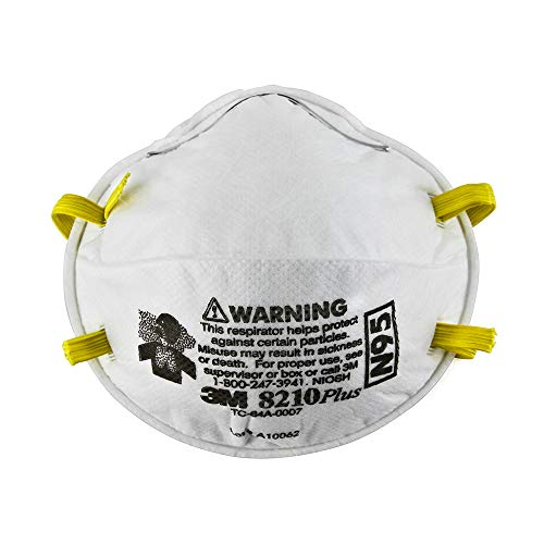 3M 8210 N95 Health Care Particulate Protection Respirator and Surgical Mask, Pack of 10