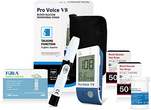 FORA Pro Voice V8 Diabetes Testing Kit for Accurate and Easy Monitoring Your Blood Glucose with Talking Glucometer, 1 Meter, 100 Test Strips, 100 Lancets, 1 Painless Design Lancing Device, Carry Case