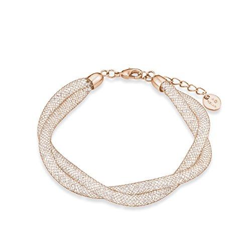 NOELANI Damen-Armband Mesh-Gewebe Edelstahl mit IP Rose Beschichtung veredelt mit Kristallen von Swarovski