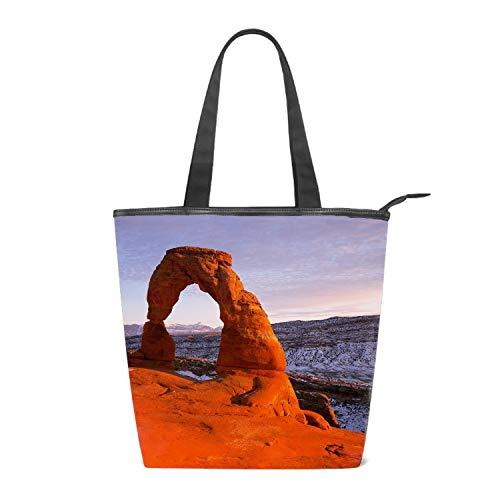 Women Canvas Shoulder Bag, Delicate Arch National Park Stones Mountains Bag Casual Handbag Shopping Bag Travel Beach Tote Bag for Women Ladies Girls