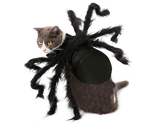 BRONG - Disfraz de Halloween para gatos y perros pequeños, diseño de araña, ajustable, para Halloween, cosplay, decoración de fiesta (S)