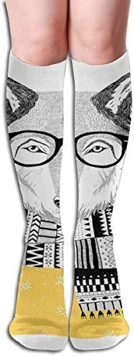 Wolf Porträt Hipster Brille Tiere Unisex elastische lange Socken Kompression Kniestrümpfe für Sport, Laufen, Reisen 19,68 Zoll