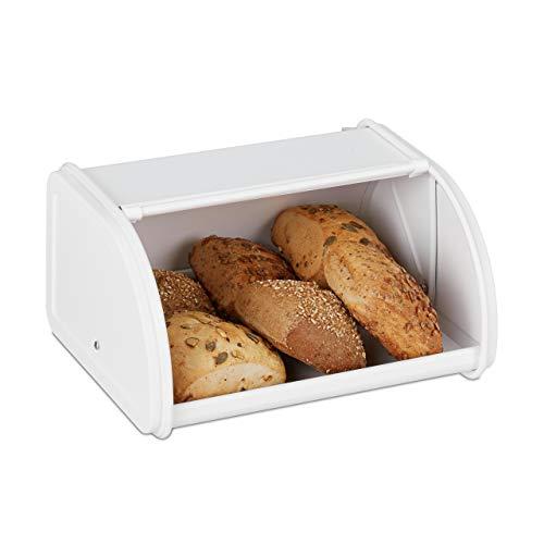 Relaxdays Brotkasten, mit Rolldeckel, aromadicht, Brot & Brötchen, Brotbehälter, Metall, HBT: 13,5 x 26 x 21 cm, weiß