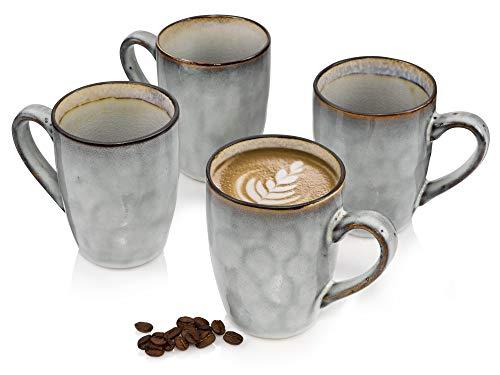 Sänger Kaffeebecher Capri aus Porzellan 12 teilig in Lila für 4 Personen - Füllmenge der Tassen 350 ml - Tassenset im Vintage-Stil, Geschirrset, Porzellanservice