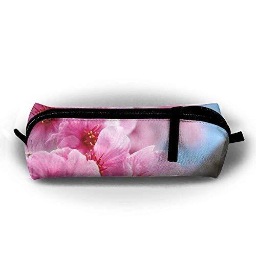 Trousse de maquillage japonaise rose avec motif fleur de cerisier - Trousse de toilette - Trousse de toilette - Avec fermeture éclair - Poignée de transport - Lignes électriques - À suspendre
