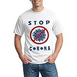 おもしろ Tシャツ 半袖 肌着 創意デザイン オリジナル オリジナル 柄プリント 綿100% 半袖 White S カジュアル おしゃれ 面白いtシャツメンズ カップル ギフト ボーイズ Covid 19コロナウイルスを停止する