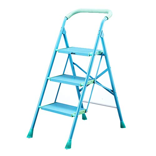 Faltschritts Hocker, Leiter aus Aluminium-Rahmen Geeignet for Wohnzimmer Küche Schlafzimmer, Last 150kg (blau) Stabilität und Sicherheit