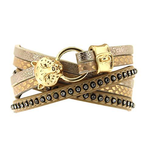 Sweet Deluxe Wickelarmband Teda, mattgold/beige/Crystal I Armschmuck für Damen & Mädchen | Endlos-Armband - flexibel verstellbar - Girl Armreifen | Geschenk-Idee | Bangle Frauen Armkettchen