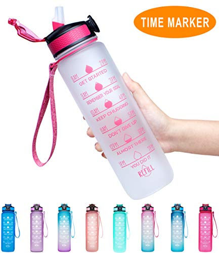 Giotto 32oz Large Leakproof BPA Free Drinking Water Bottle with Time Marker & Straw to Ensure You Drink Enough Water Throughout The Day for Fitness and Outdoor Enthusiasts-White-Pink