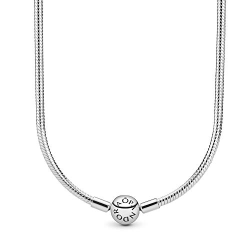 Pandora Jewelry Moments Snake Chain Charm Sterling Silver Necklace, 17.7'
