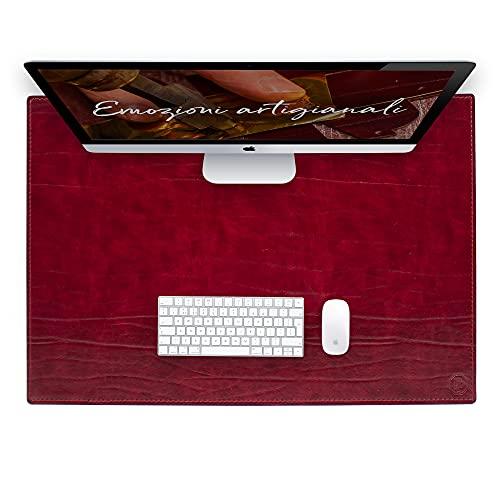 Vade de escritorio para escritorio de oficina y alfombrilla para ordenador portátil, de piel artesanal – 90 x 60 cm – Fabricado en Italia   FP piel – Dante (rojo)