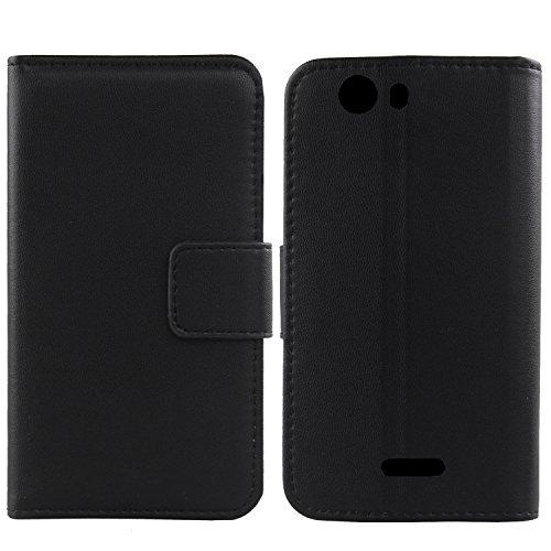 Gukas Design Echt Leder Tasche Für Wiko Ridge Fab 4G Hülle Handy Flip Brieftasche mit Kartenfächer Schutz Protektiv Genuine Premium Hülle Cover Etui Skin Shell (Schwarz)